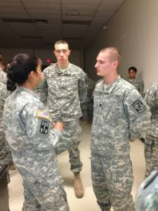 LTC Hartman provides valuable advice to (left to right) Cadets Hett and Wildermuth.