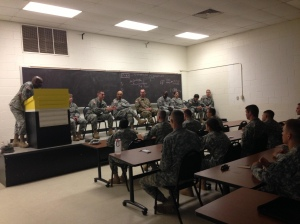 Because of the delay in departure, cadre came up with training exercises for the Cadets. The best one was a panel of senior officers who discussed leadership, schools, and gave advice for the Cadets future.The panel of officers assembled; (from left to right) COL Wingate, LTC Shank, CPT Henderson, COL Chapman, 1LT Collins, CPT Martin (not pictured), LTC Hartman (not pictured), and LTC Sims-Columbia (not pictured).