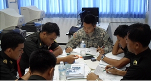 Cadets teach Thai officers and maintainers English so  these soldiers can receive further avionics training in the United States.