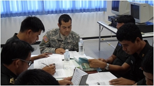 Cadet Edward Rauch, a junior from The University of Scranton teaches Thai Army Aviation non-commissioned officers correct English pronunciation and vocabulary as a part of the U.S. Army ROTC Cultural Language and Understanding program this summer of 2013.