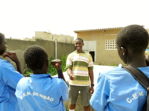 At a nearby school in Mbao, Senegal, Cadet Sheldon Holmes of Michigan State University teaches his group of students how to play Simon Says. In doing so, he helped the students practice and improve their listening and comprehension skills as well as expand their vocabulary