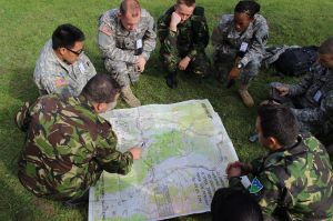 Cadets practicing land nav with the Romanian soldiers.