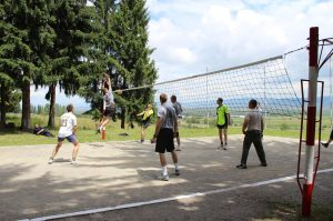 Playing volleyball  was not only good for PT, but good for us to practice a different language, and to socialize.